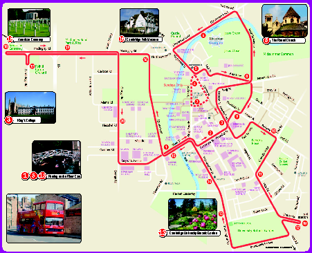 Cambridge Bus Tour Map Cambridge uk mappery