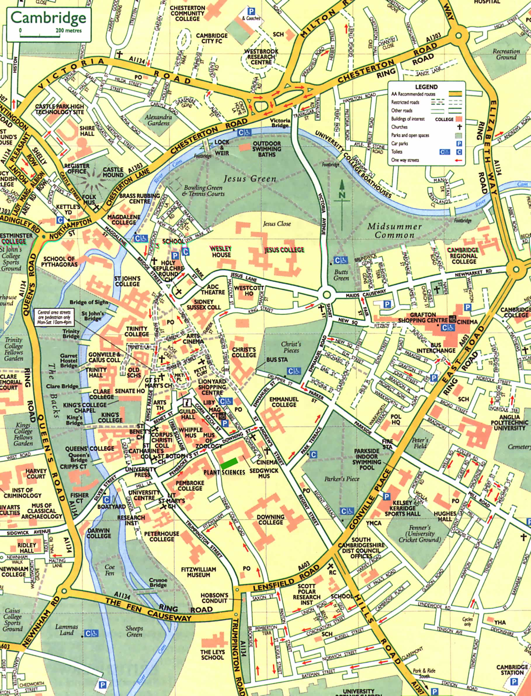 Cambridge Street Map Cambridge England mappery