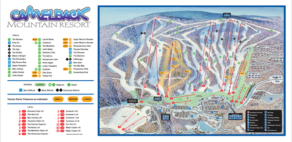 Camelback Ski Trail Map - 1 Camelback Rd Tannersville PA 18372 • on