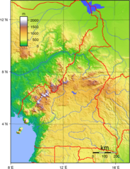 Cameroon topographical Map