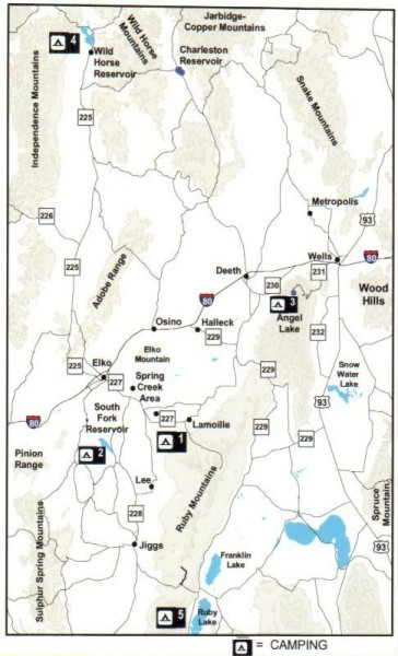 Fullsize Camping in Elko County, Nevada Map