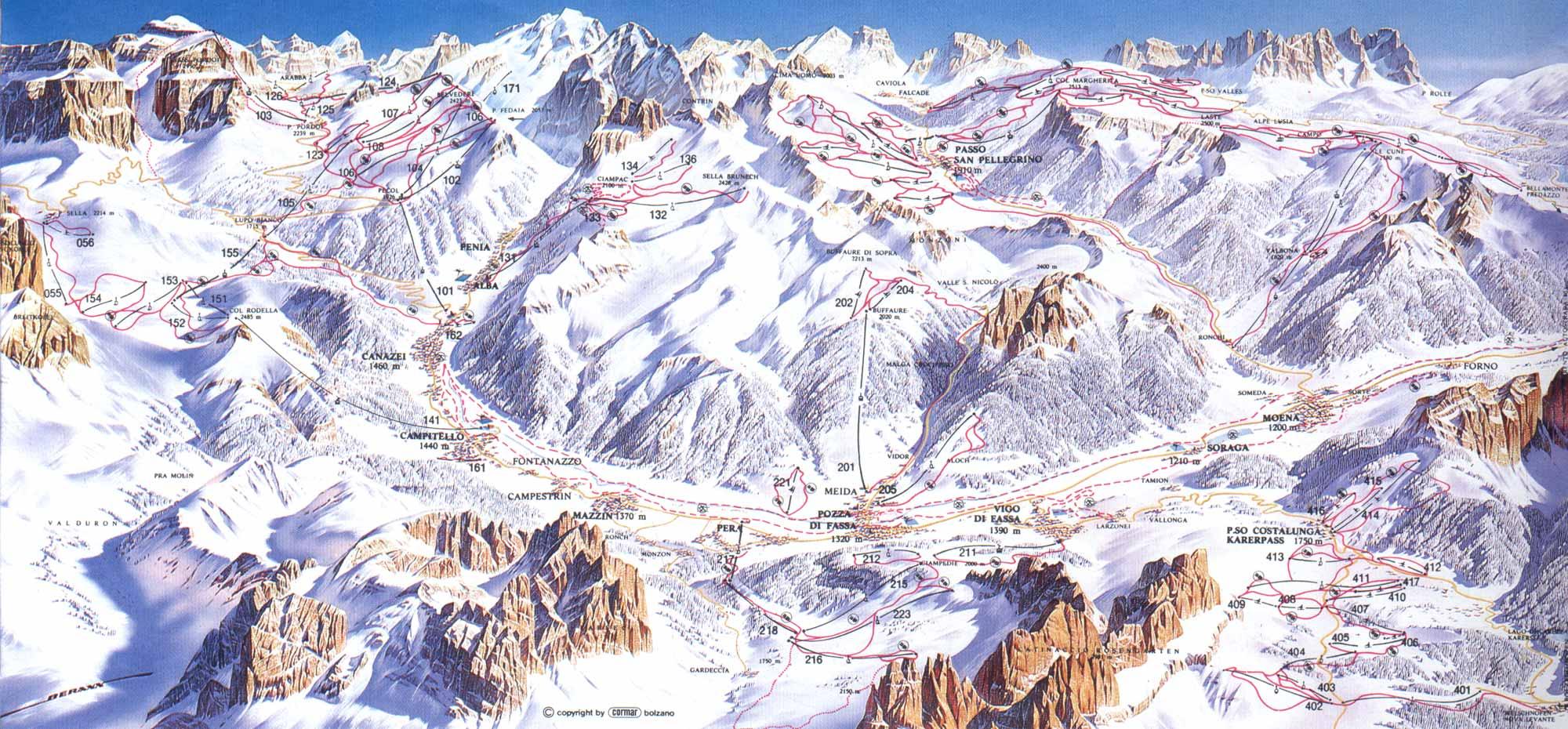 Campitello di Fassa Ski Map Campitello di Fassa mappery