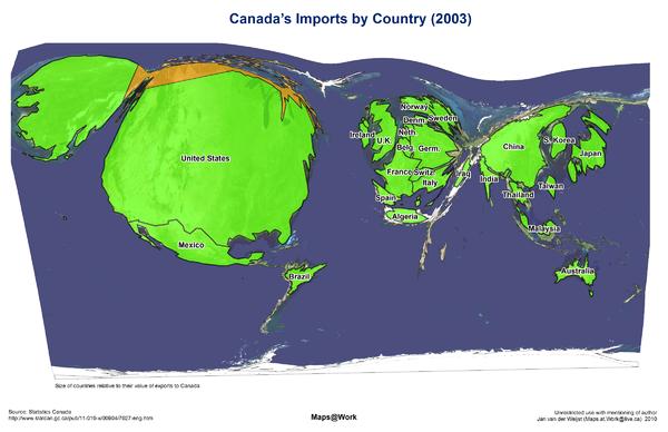 canada imports cartogram 2003 map mappery