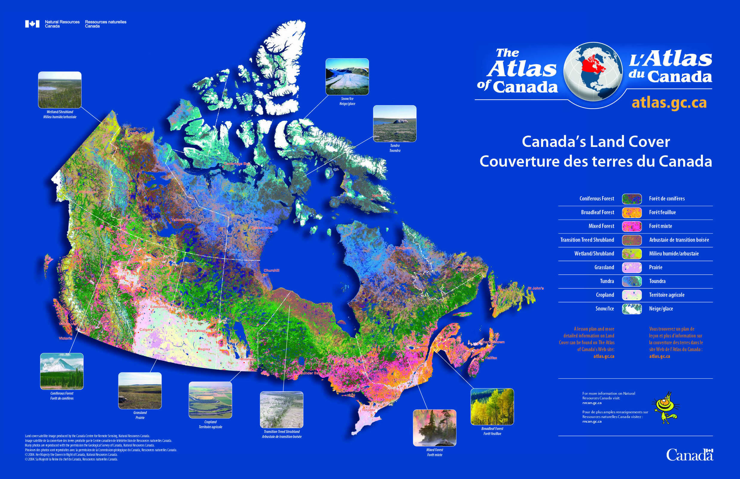 Land Use Map Canada Canada Land Cover Map   Canada • mappery