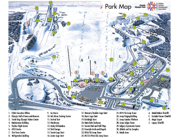 Canada Olympic Park Ski Trail Map