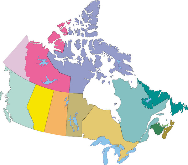 Canada Map Color Coded Canada Province Map   Canada • mappery