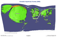 Canada's Import by Country (2003) Map