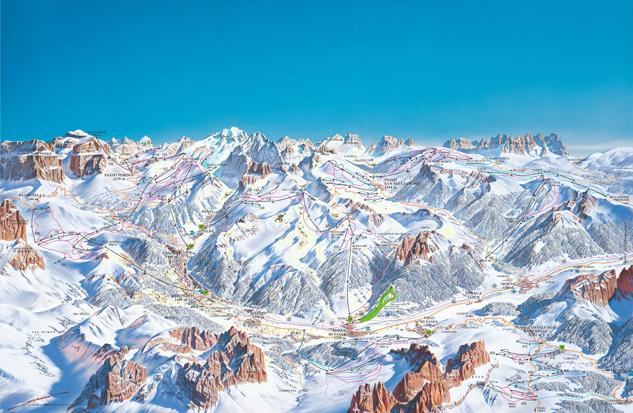 Canazei Campitello Ski Trail Map Canazei Italy mappery