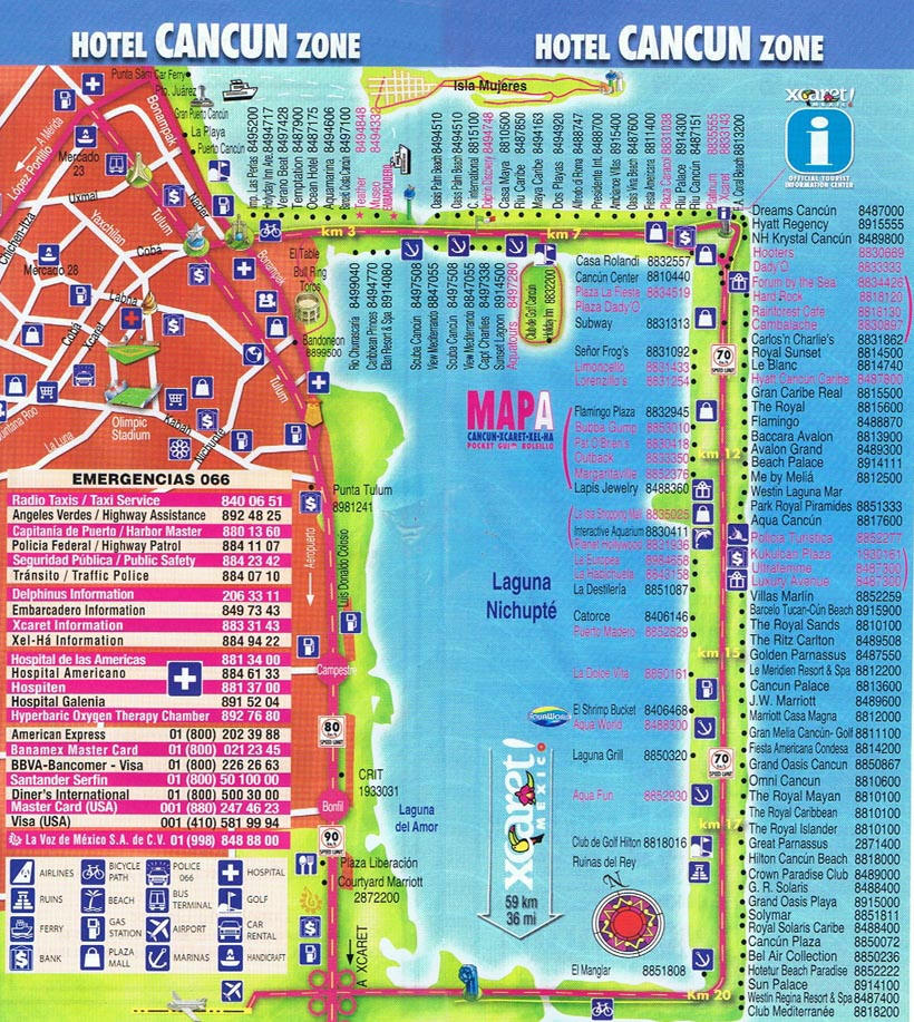 Cancun Hotel Map Cancun Mappery - Cancun hotel zone map