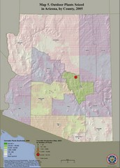 Cannabis Seized in Arizona Map 2005