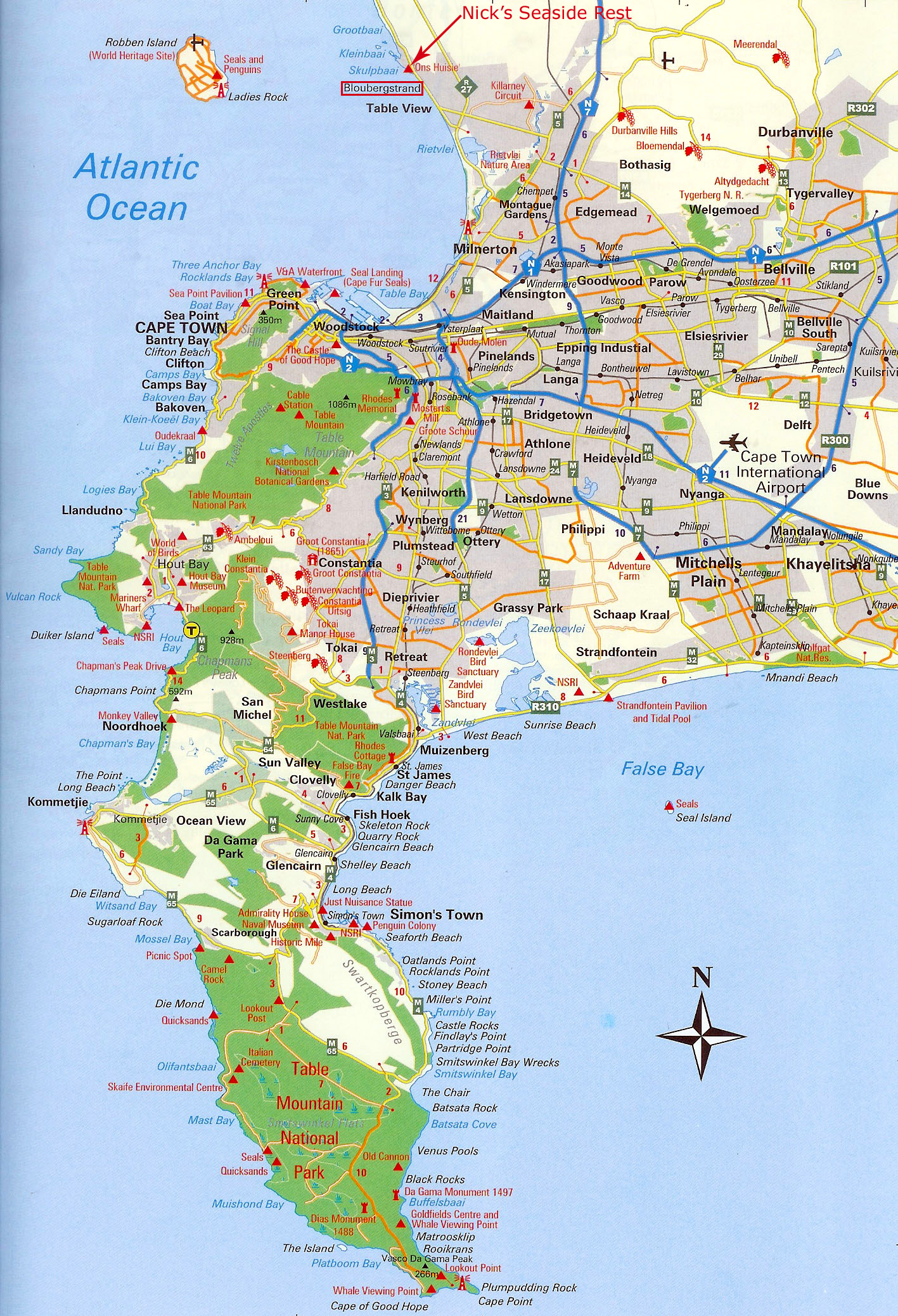 Cape Peninsula Map   Cape Peninsula South Africa • mappery