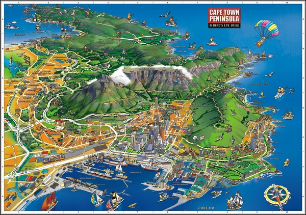 Cape Town Birds Eye View Map - Cape Town Africa • mappery