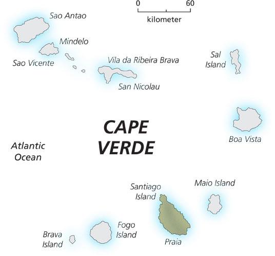 africa map cape verde islands