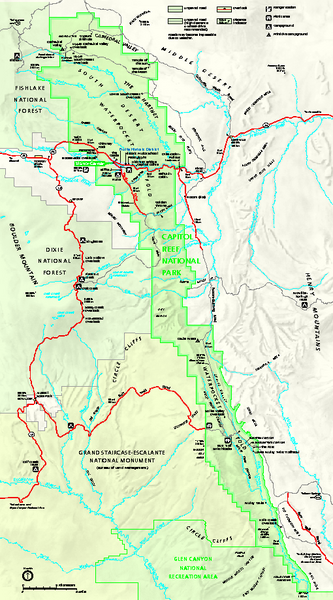 Capitol Reef National Park Official Map