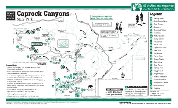 Caprock Canyon, Texas State Park Facility and Trail Map