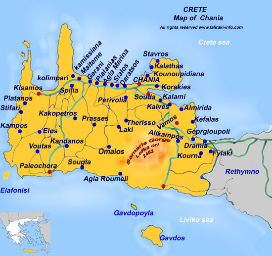 Car Rental Crete Map mappery