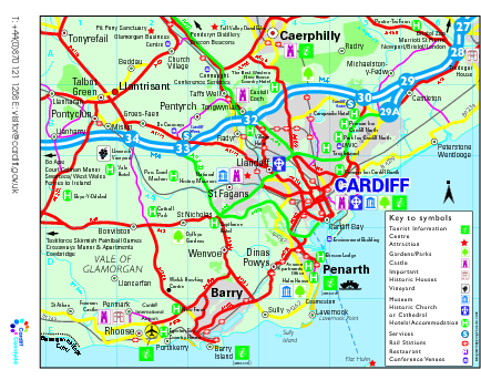 Cardiff Region Tourist Map Cardiff UK mappery