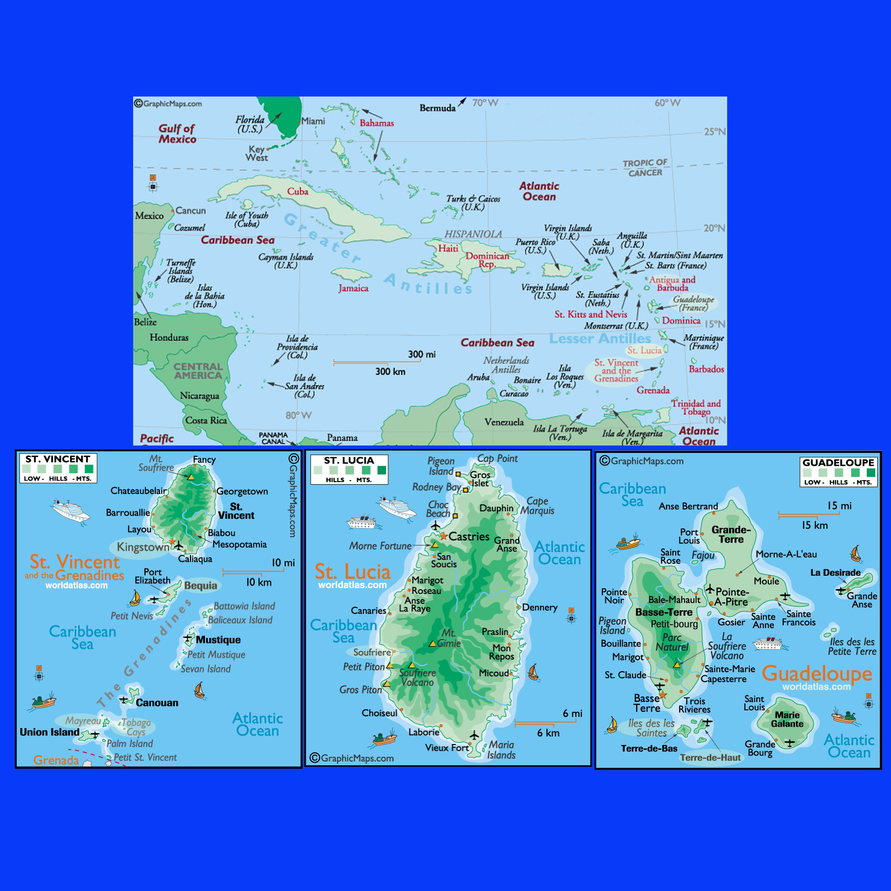 Caribbean Islands Map Caribbean St Vincent St Lucia Guadeloupe - Map of caribbean islands