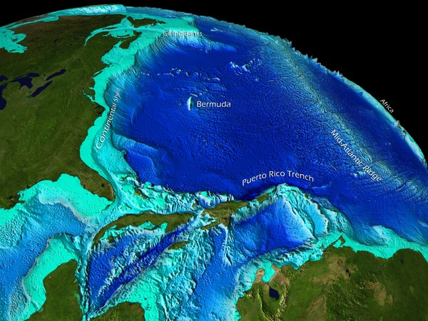 Caribbean Sea Bathymetry Map • mappery