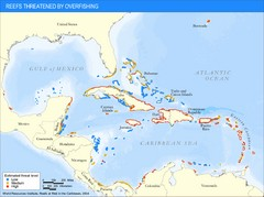 Caribbean Threatened Reef Map