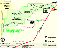 Carlsbad Caverns National Park Official Map