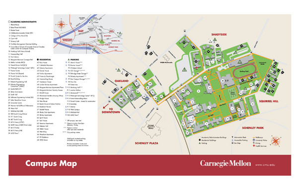 Carnegie Mellon Campus Map   5000 Forbes Avenue Pittsburgh PA