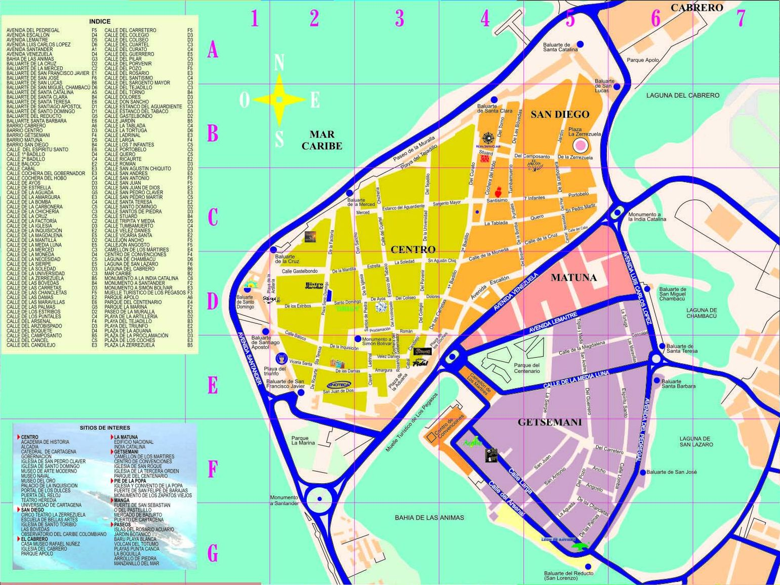 cartagena map  cartagena colombia • mappery -