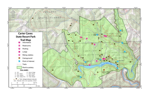 Carter Caves State Resort Park Topographic Trails Map