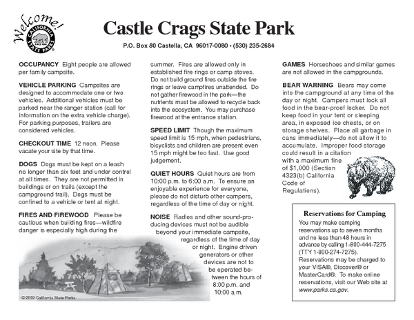 Castle Crags State Park Map