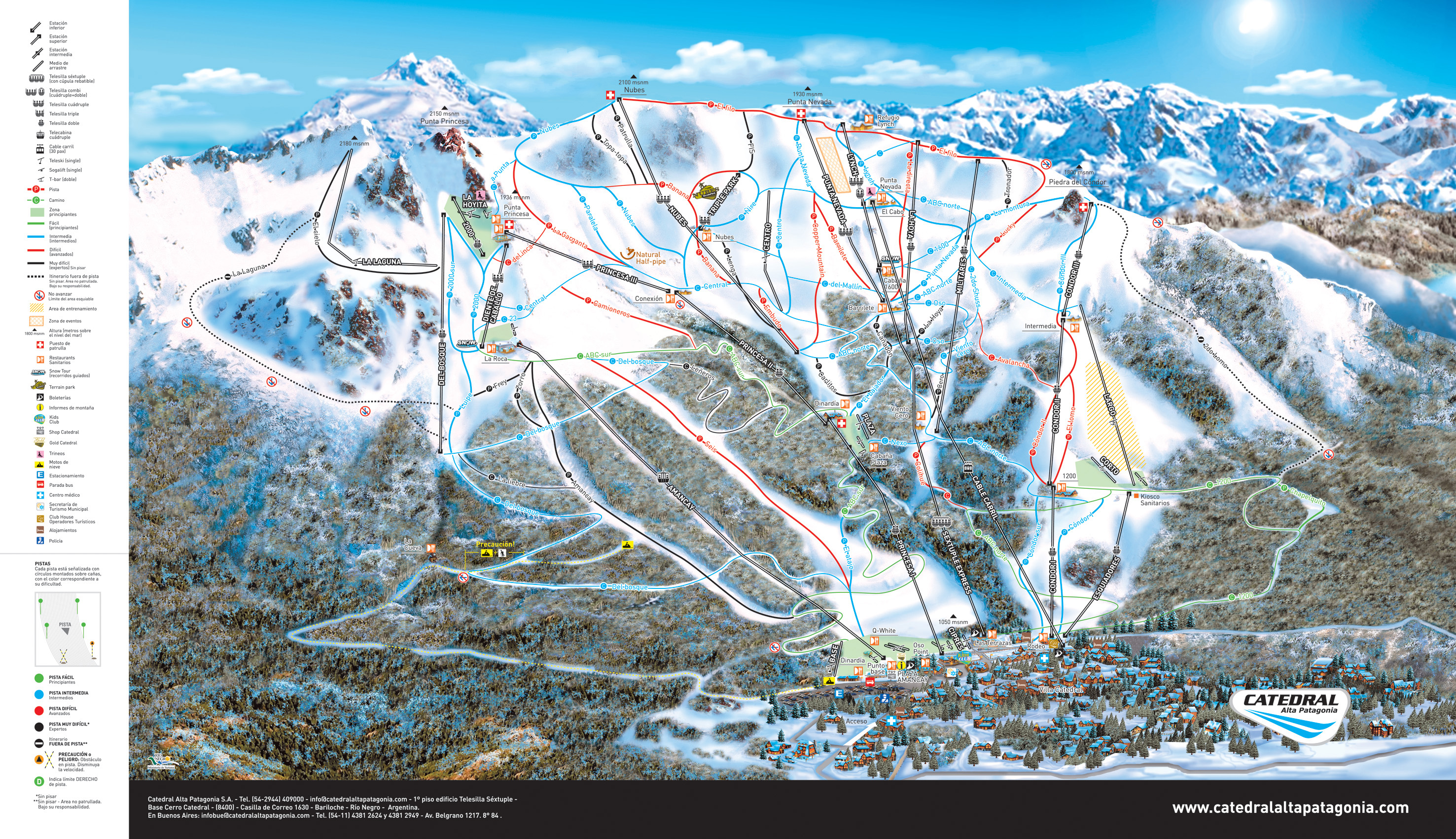 Catedral alta patagonia ski trail map bariloche argentina mappery gumiabroncs Image collections