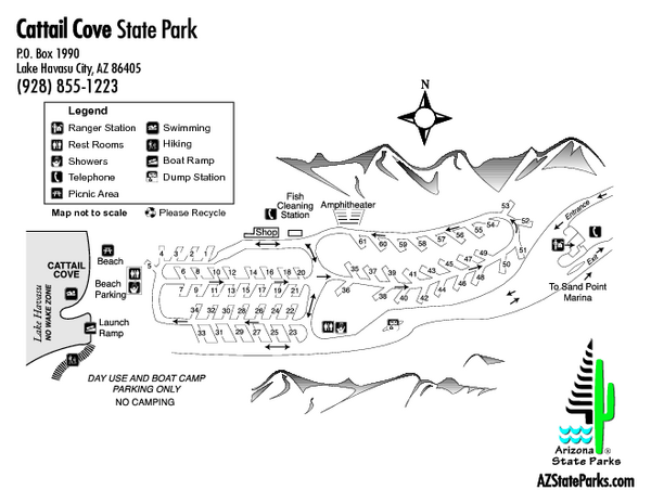 Cattail Cove State Park Map Cattail Cove State Park Lake