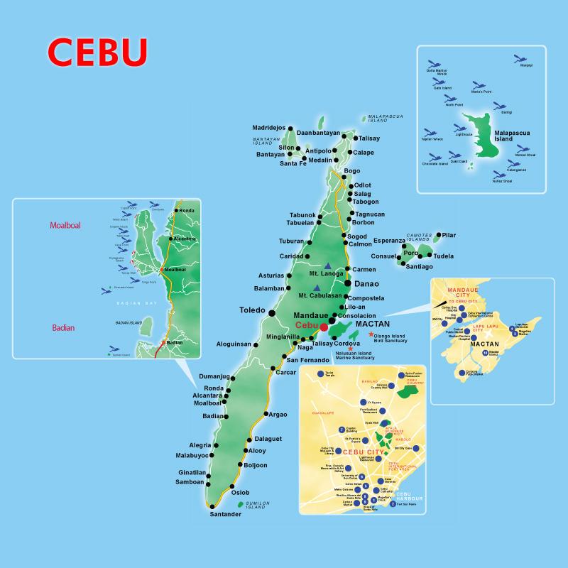 Cebu Tourist Map Cebu mappery