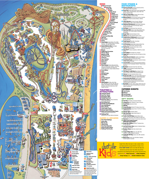 Cedar Point Amusement park Map