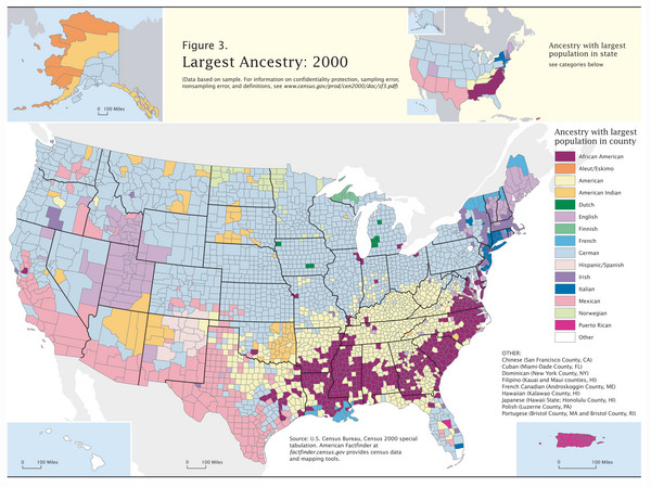 Census 2000 Data Top US Ancestries by County Map