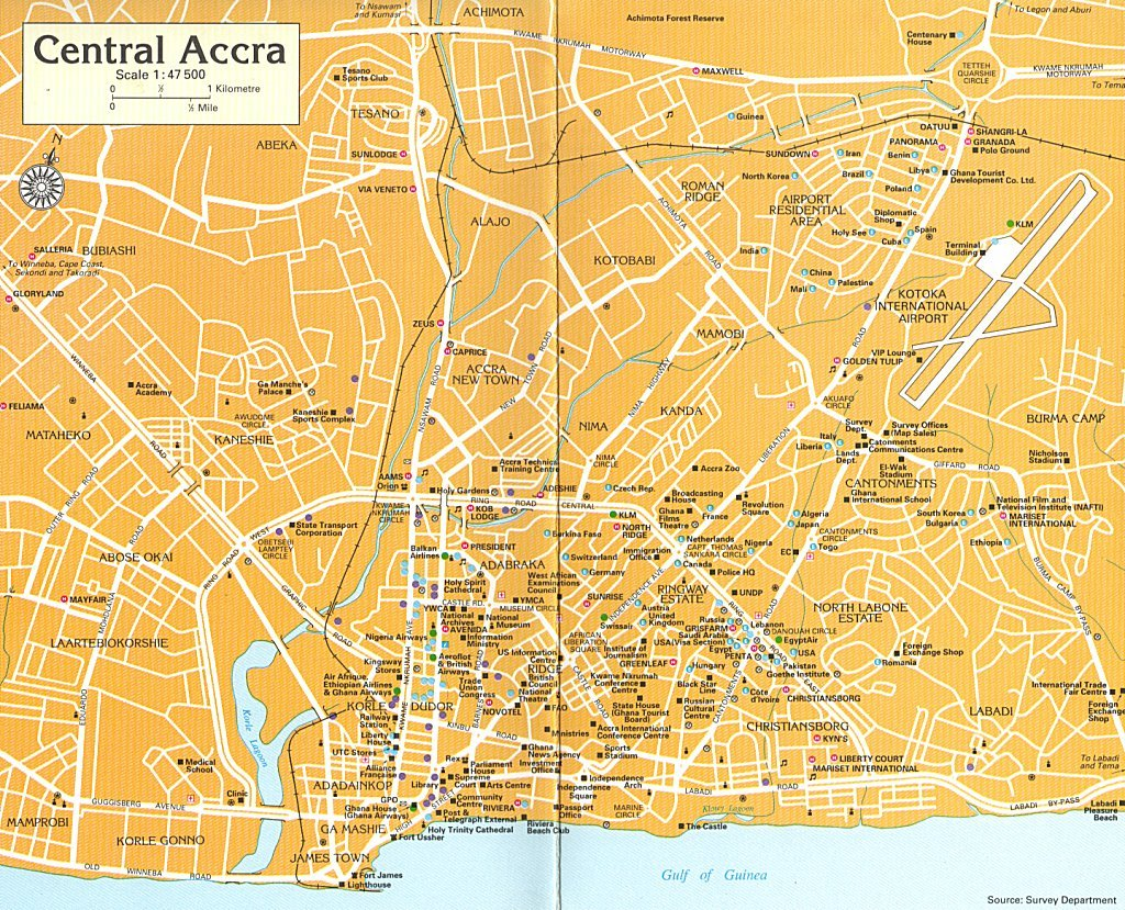 central accra tourist map  accra ghana • mappery -