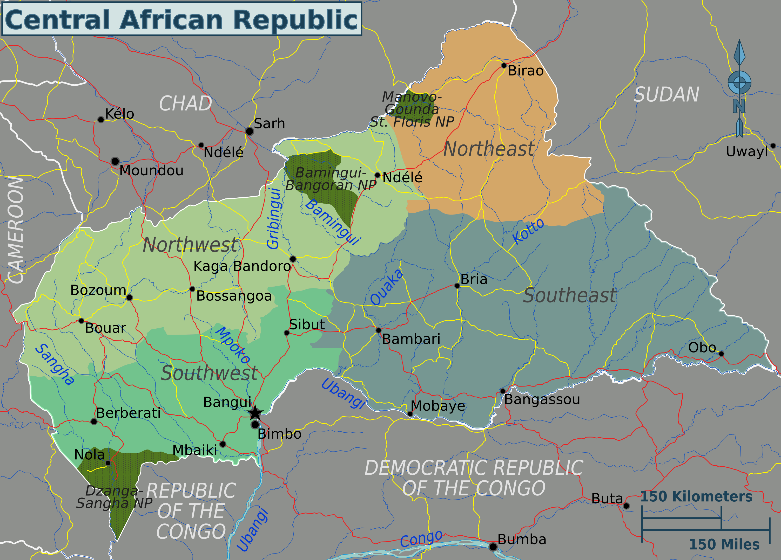 Central African Republic Regions Map Mappery - Central africa map
