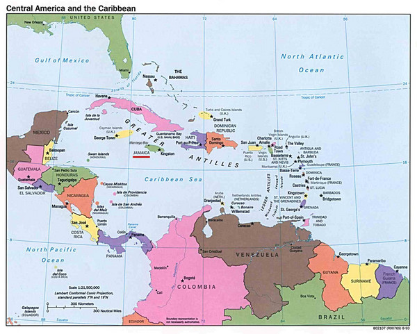 Central American And Caribbean Islands Map Caribbean Mappery - Map of caribbean islands