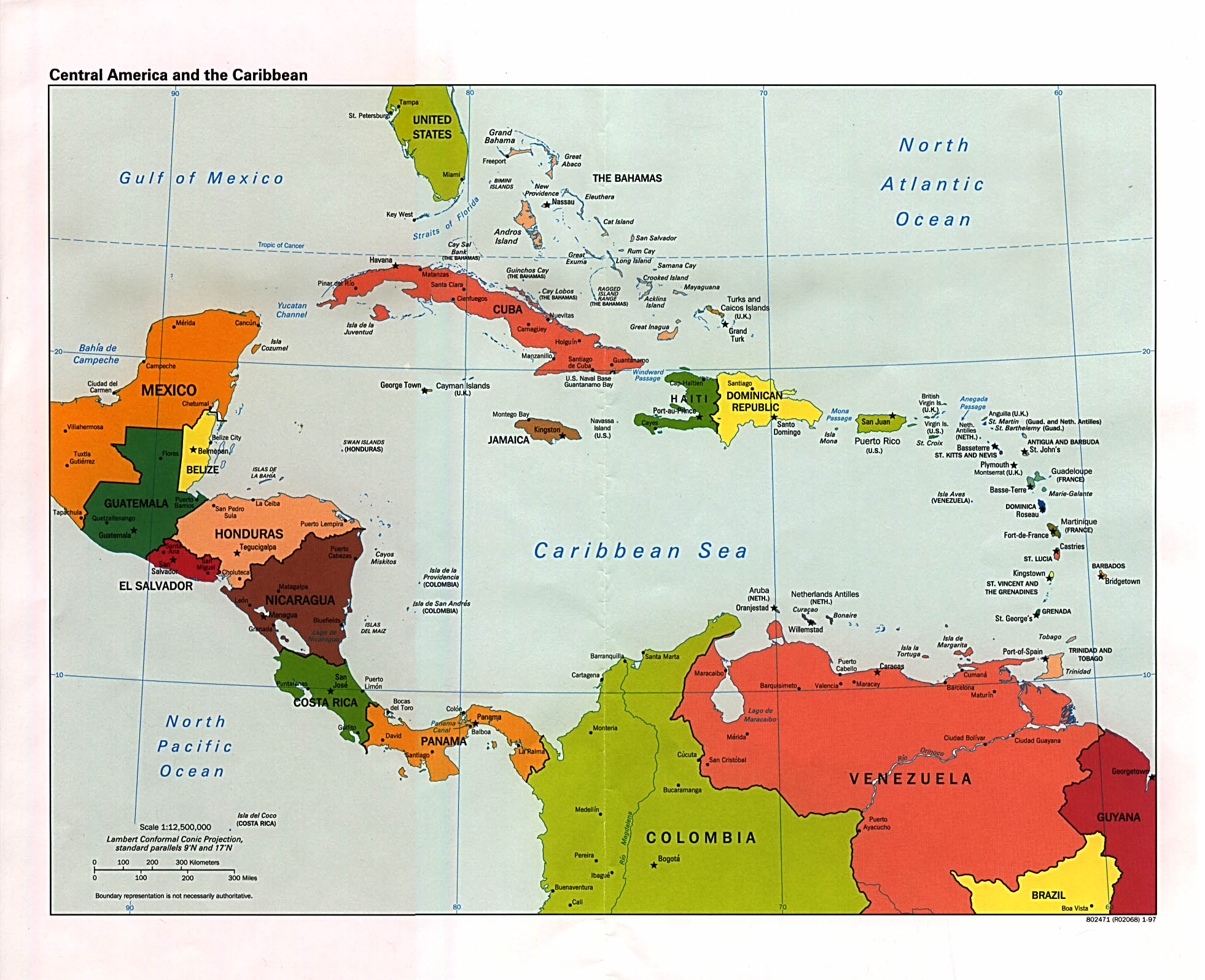 Central American and the Caribbean Political Map See map details From ...