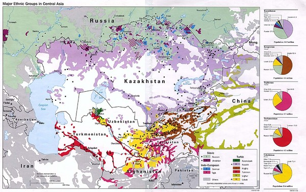 Central Asia Ethnic Groups Map