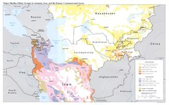 Central Asia: Major Muslim Ethnic Groups Regional Map