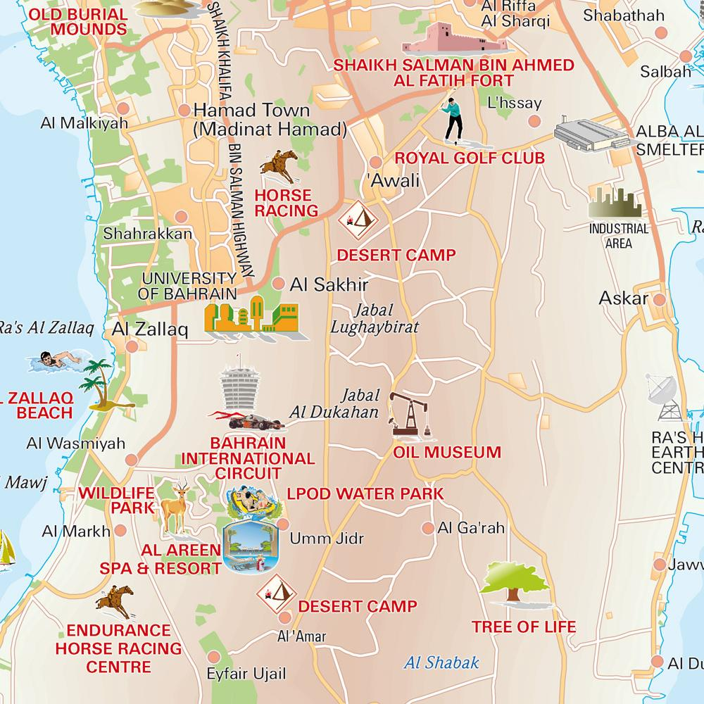 Central Bahrain tourist Map mappery