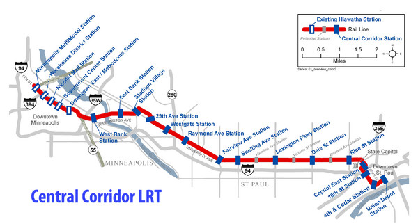 Central Corridor Light Rail in Twin Cities Region Map