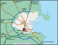 Central Dublin, Ireland Highway Map