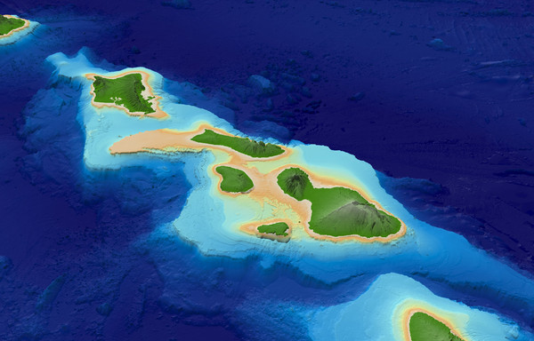 Central Hawaiian Islands Bathymetry Map