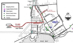 Central Hilo, Hawaii Tourist Map