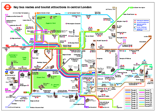 Central London Tourist and Bus map London England mappery