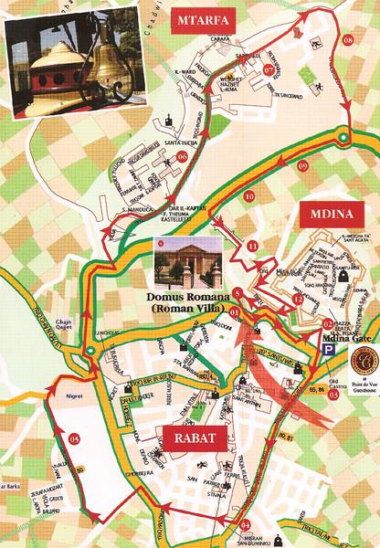 Central Malta Tour Map Malta mappery