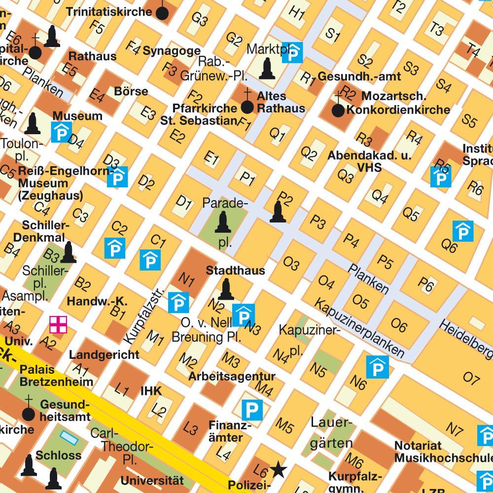 Central Mannheim Mp Map Mannheim Germany Mappery
