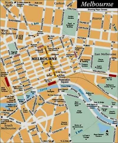 Central Melbourne, Australia Tourist Map