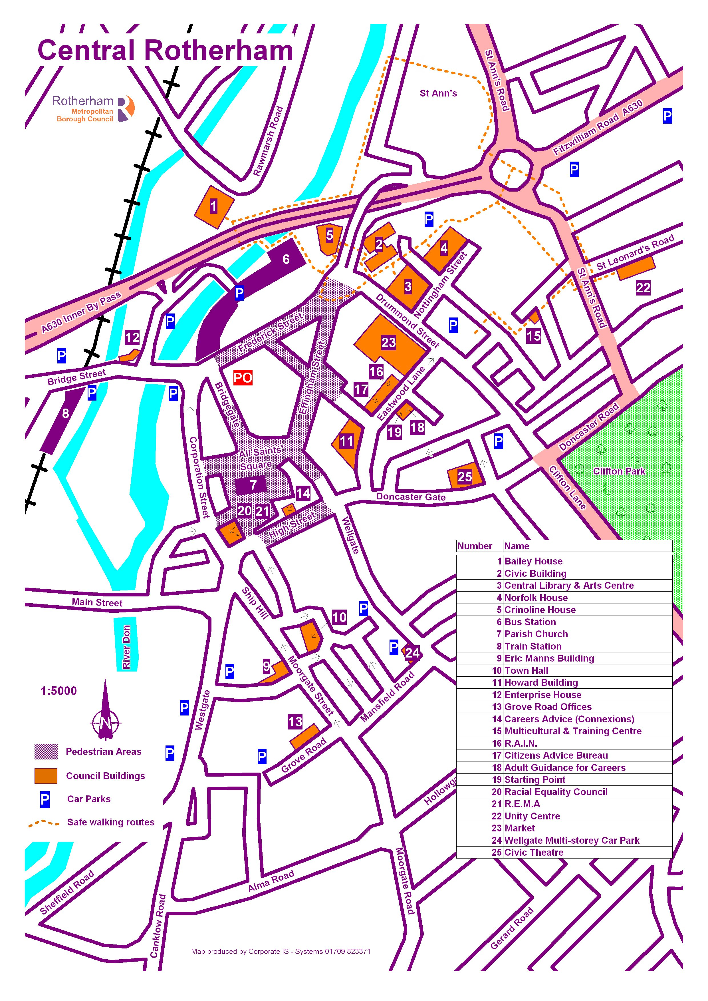 Central Rotherham Map Rotherham South Yorkshire England mappery